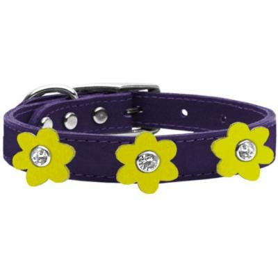 Flower Leather Collar Purple With Yellow Flowers Size 12
