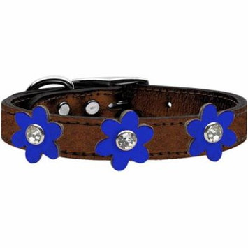 Metallic Flower Leather Collar Bronze With Metallic Blue Flowers Size 22