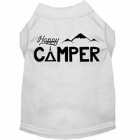 Happy Camper Screen Print Dog Shirt White Med (12)