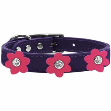 Flower Leather Collar Purple With Pink Flowers Size 26