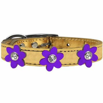 Metallic Flower Leather Collar Gold With Metallic Purple Flowers Size 22