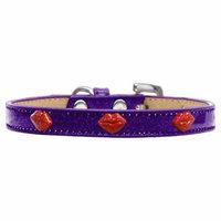 Red Glitter Lips Widget Dog Collar Purple Ice Cream Size 18
