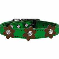 Metallic Flower Leather Collar Metallic Emerald Green With Bronze Flowers Size 12