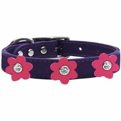 Flower Leather Collar Purple With Pink Flowers Size 12