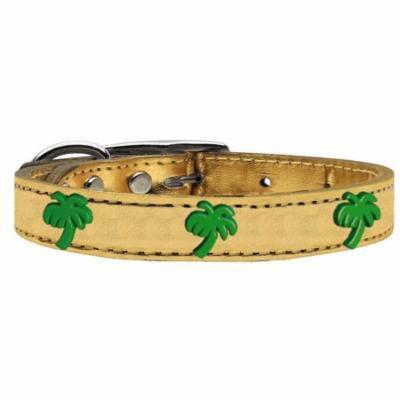 Green Palm Tree Widget Genuine Metallic Leather Dog Collar Gold 16