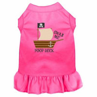 Poop Deck Embroidered Dog Dress Bright Pink Med (12)