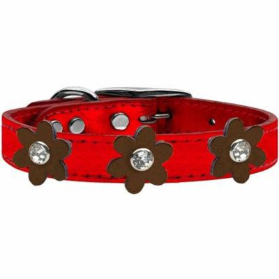 Metallic Flower Leather Collar Metallic Red With Bronze Flowers Size 24