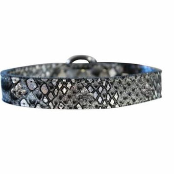 Silver Fleur De Lis Widget Dragon Skin Genuine Leather Dog Collar Silver Size 22