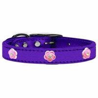 Bright Pink Rose Widget Genuine Metallic Leather Dog Collar Purple 24