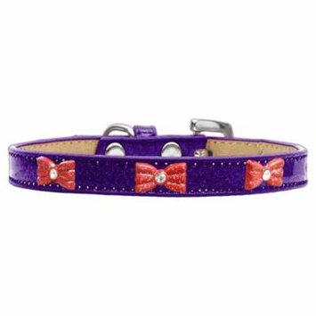 Red Glitter Bow Widget Dog Collar Purple Ice Cream Size 20