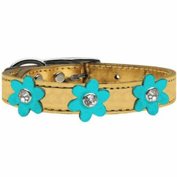 Metallic Flower Leather Collar Gold With Metallic Turquoise Flowers Size 14