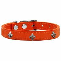 Silver Fleur De Lis Widget Genuine Leather Dog Collar Orange 26