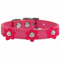 Flower Leather Collar Pink With Bright Pink Flowers Size 18