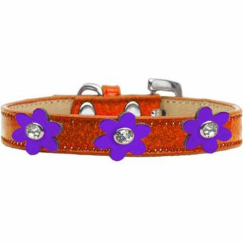Metallic Flower Ice Cream Collar Orange With Metallic Purple Flowers Size 16