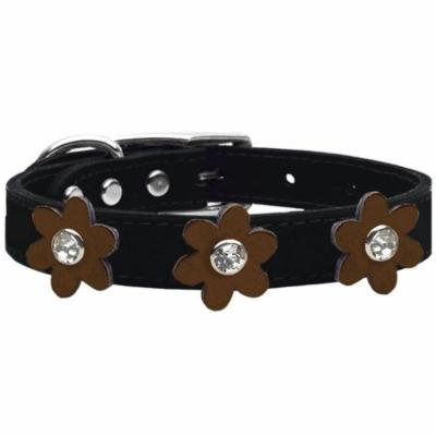 Metallic Flower Leather Collar Black With Bronze Flowers Size 12