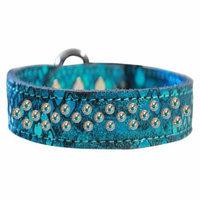Sprinkle Ab Crystal Jeweled Dragon Skin Genuine Leather Dog Collar Blue Size 20