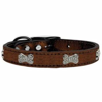 Crystal Bone Genuine Metallic Leather Dog Collar Bronze 22