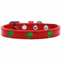 Green Palm Tree Widget Dog Collar Red Size 10