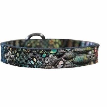 Silver Fleur De Lis Widget Dragon Skin Genuine Leather Dog Collar Magic Size 22