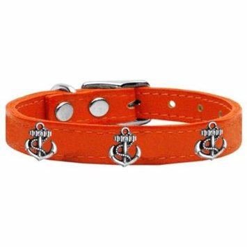 Silver Anchor Widget Genuine Leather Dog Collar Orange 24
