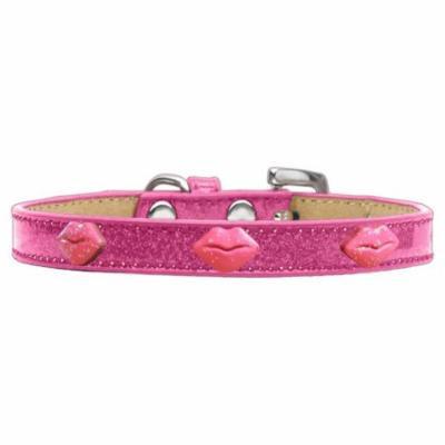 Pink Glitter Lips Widget Dog Collar Pink Ice Cream Size 20