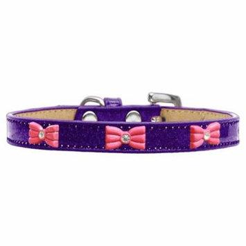 Pink Glitter Bow Widget Dog Collar Purple Ice Cream Size 14