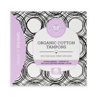 The Honest Company Organic Cotton Tampons with Plant-Based Compact Applicator, Super Plus, 16 Ct