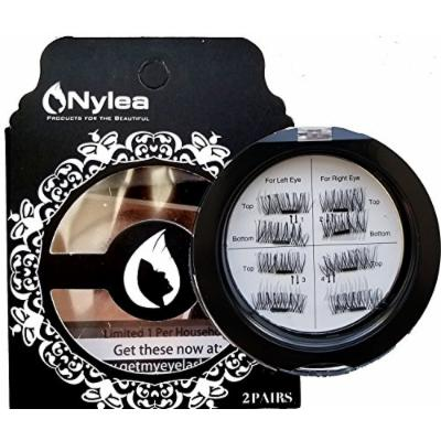 Nylea 8x Magnetic Eyelashes [No Glue] Premium Magnet Quality False Eyelashes Set for Natural Look - Best Fake Lashes Extensions One Two Cosmetics 3D Reusable (Pack 3)