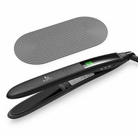 USpicy Hair Straightener, Hair Flat Iron with Heat Resistant Silicone Pad, Curved Design and MCH Ceramic Plate (LCD Display, 110V-220V Compatibility, Ergonomic Handle, 450 °F / 232 °C)