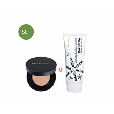 April Skin Magic Snow Cushion Black 2.0 15g (23. Natural Beige) + Magic Snow Cream 70ml SET