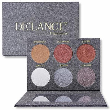 DE'LANCI 6 Color Makeup Illuminating Cream Highlighter & Bronzer Collection Soft Touching Glow Kit Matte Face Palette with Makeup Mirror