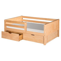 Camaflexi Twin Size Day Bed with Twin Trundle - Panel Headboard - Natural Finish [finish: finish-natural]
