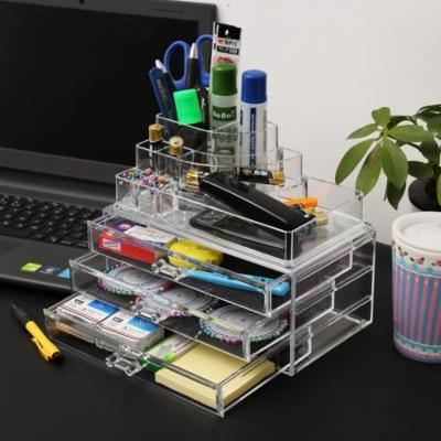 Acrylic Cosmetics Makeup Organizer Case Storage Insert Holder Box - 4 Drawers 12 Grids SPHP
