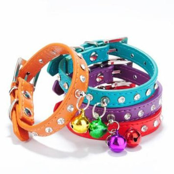 Sanwood Pet Puppy Cat Dog Rhinestone Bell Decor Faux Leather Neck Strap Buckle Collar