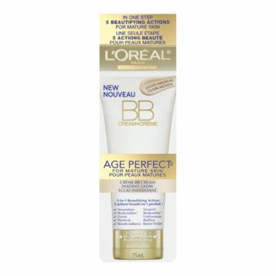 L'Oreal Paris Age Perfect BB Cream Instant Radiance, 2.5 Fluid Ounce + Schick Slim Twin ST for Sensitive Skin