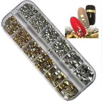 2400pcs Mix Sizes Golden & Silver Round Square Metal Alloy Studs Design For Nail Art Cellphone DIY Decoration