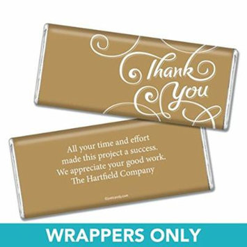 Thank You Personalized Chocolate Bar Wrappers - Scroll (25 Wrappers) Gold
