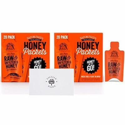 Nature Nate's 100% Pure Raw & Unfiltered Honey On the Go Single Servings in Dependable Packaging to Prevent Breakage with LP card Bundle (Original, 40 Packets)