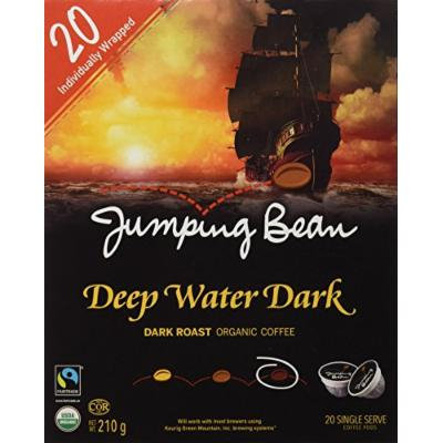 Jumping Bean Organic Coffee Single Serve Coffee Pods, Deep Water Dark, 20 Count
