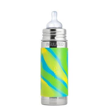 Pura Kiki 9 oz / 260 ml Stainless Steel Insulated Infant Bottle with Silicone Medium-Flow Nipple & Sleeve, Aqua Swirl(Plastic Free, NonToxic Certified, BPA Free)