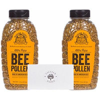 Nature Nate's 100% Bee Pollen (2 Pack) in Dependable Packaging to Prevent Breakage with LP card Bundle (Original, Set of 2)