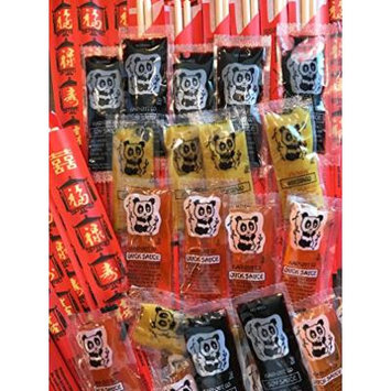 Chinese Sauces Variety Bundle: Asian Duck Sauce, Panda Soy Sauce, Chinese Hot Mustard, 50 Packets each, with Chopsticks