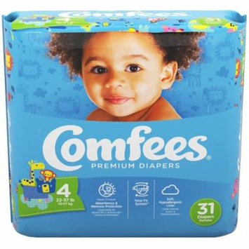 Comfees Baby Diapers, Size 4 (22-37 Lbs) - Case of 124