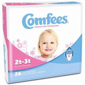 Comfees Premium Training Pants, Girls 2T-3T (Up to 34 Lbs) - Case of 156