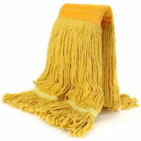 Bonison Commercial Use Wringer Style Replacement Mop Head For Clamp Mop With Looped Ends And Yarn Tailband, Heavy Duty And Long Lasting. (1, Yellow)