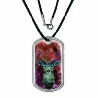 Deer Watercolor Magenta Dog Tag