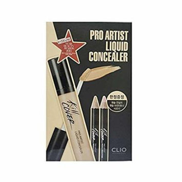 CLIO Kill Cover Pro Artist Liquid Concealer Set 02-BP Lingerie (with Pencil Brightener, Pencil Concealer & Sharpener Tool)