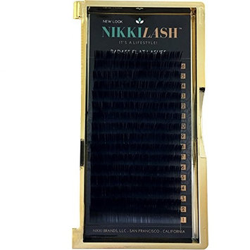 NIKKILASH BADASS FLAT LASHES - Ellipse Flat JC-Curl Eyelash Extensions | 16-Rows Deep Rich True Black Flat Lashes - Thickness: 0.20mm and Length: 12mm