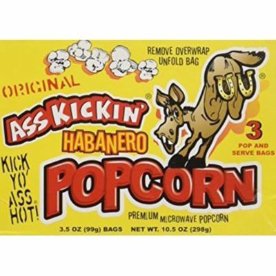 Ass Kickin' Habanero Popcorn (3.5oz per bag)- 2 Pack