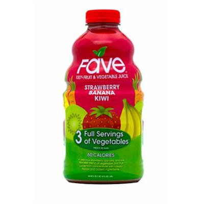 FAVE 100 Percent Fruit and Vegetable Juice, Strawberry Banana Kiwi, 46 Fluid Ounce (Pack of 8)